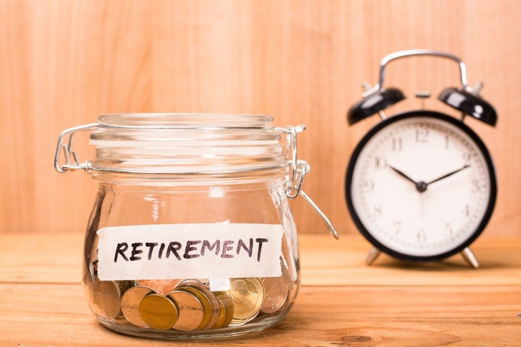 Money in a jar for retirement