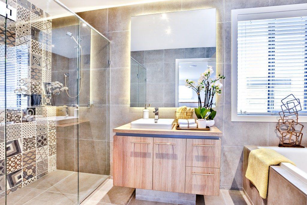 Well-lit modern bathroom