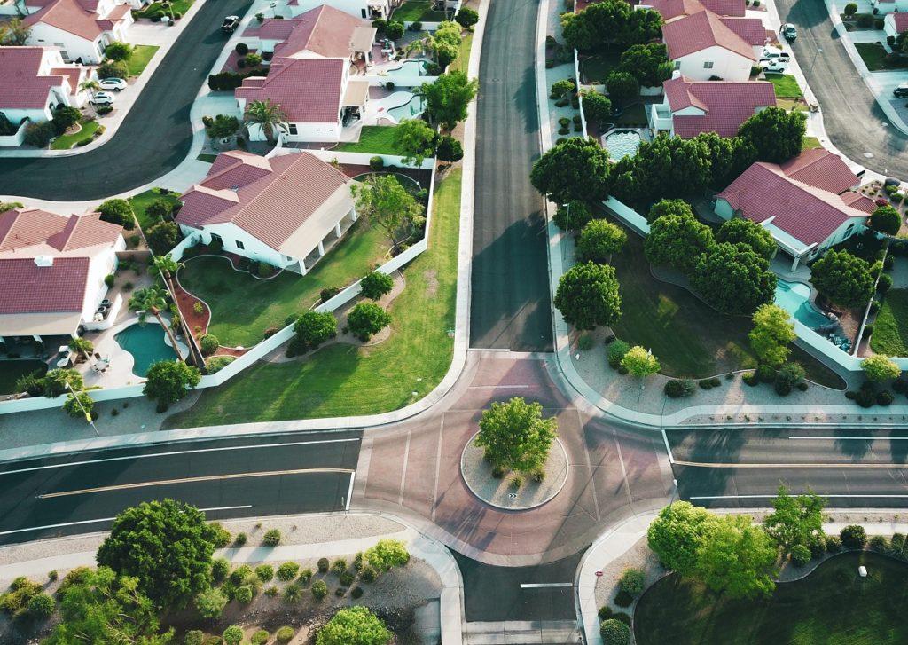 houses on birds eye view