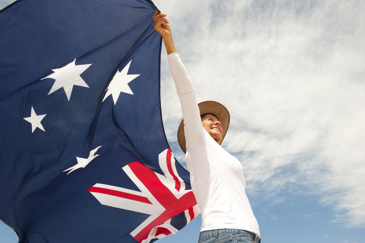 woman holding australian flag